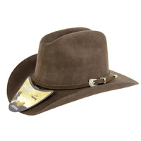 Kids Wool Felt Cattleman Hat - Brown-175