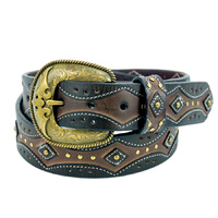 Dark Brown/Black Leather Belt - 303