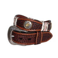 Mens Italian Leather Belts-Bullrider-307-B