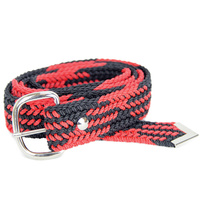 Braided Nylon OSFA Belt - Black/Red - 31508