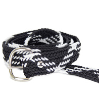 Braided Nylon OSFA Belt - Black w/ White Stripes - 31509