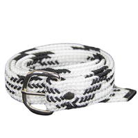 Braided Nylon OSFA Belt - White w/ Black Stripes - 31510