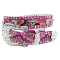 Pink Snake Skin Pattern Leather w/floral Conchos  Belt - 332