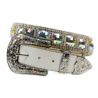 Multi Colour Bling on White Leather- 354