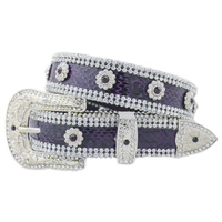 Purple Leather Belt with Clear Stone Trim - 369