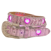 Girls Pink Flashing Heart LED Lights Belt - 373