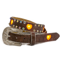 Girls Brown Flashing Heart LED Lights Belt - 374