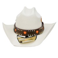 Brown Flashing Hearts Hat Band  - 374HB