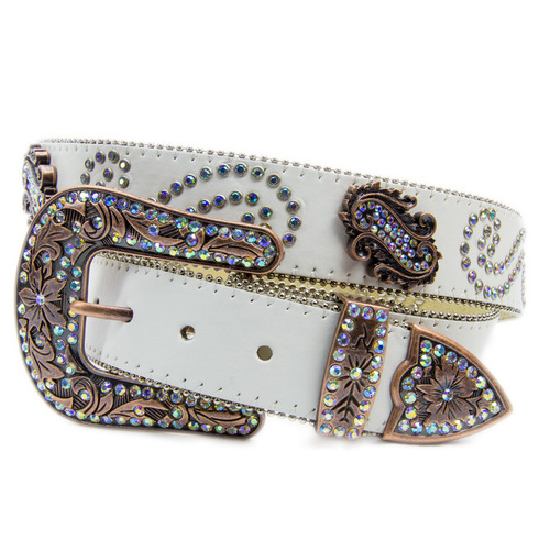 Cream Leather w/ Rainbow Paisley Diamontes - 390