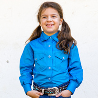 Girls 100% Cotton Single Colour Shirts - 4154-H-Cobalt