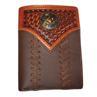 Distressed Leather with Carving & Bull Rider Concho - 5007-C