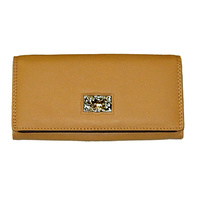 Tan Leather Wallet -  Gold Horse Concho - 5009-A