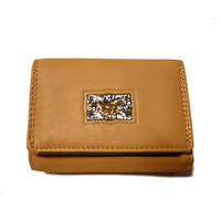 Ladies Tan Leather Coin Purse - Running Horse Concho - 5009B