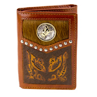 Tan Leather, Floral Carvings, Cowhide Hair-on, Bull Rrider - 5013-C