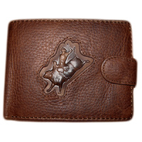 Distressed Leather with Bull Rider Brand - 5017-E