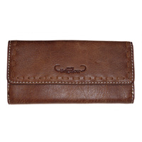 Distressed Leather Purse with Brigalow Logo - 5018