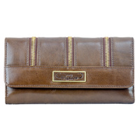 Brown Leather Zipper Patterned Purse - 5028