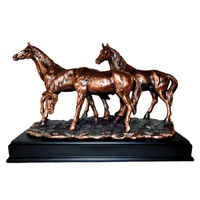 Horses at Rest - Large Bronze Plated Statue - 7514