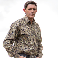 Mens Brown Cotton Paisley Shirt-8007-B