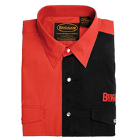 Mens Two Tone Cotton Shirts-8008-A-Red/Black