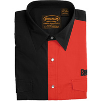 Mens Two Tone Cotton Shirts-8008-E-Black/Red