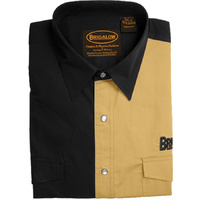 Mens Two Tone Cotton Shirts-8008-H-Black/Sand