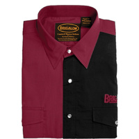 Mens Two Tone Cotton Shirts-8008-S-Maroon/Black