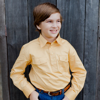 Kids Cotton Half Placket Work Shirt - 8052-E-Sand