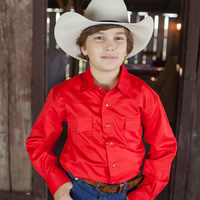 Boys 100% Cotton Red Dress Shirt - 8056F
