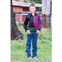 Boys Two Tone Cotton Shirt - 8058C - Plum/Black