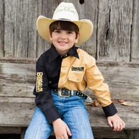 Boys Two Tone Cotton Shirt - 8058H - Black/Sand