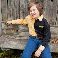 Boys Two Tone Cotton Shirt - 8058L - Sand/Black