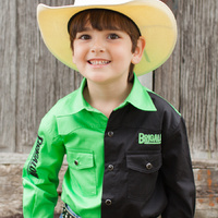 Boys Two Tone Cotton Shirt - 8058-X - Lime/Black