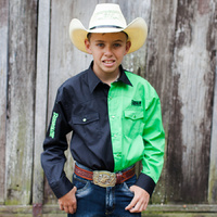 Boys Two Tone Cotton Shirt - 8058-Y- Black/Lime