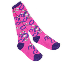 Pair of Pink Horse Shoe Knee High Socks - A803