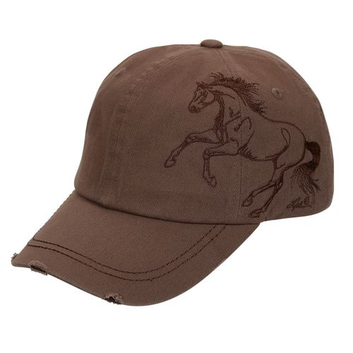 Expresso Brown Cap - Embroidered Galloping Horse - BC117E
