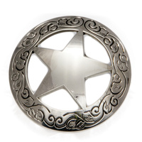 Western Star - Silver Star -  Engraved Border - 38mm - Pack of 6 - Concho-01