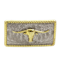 Gold Longhorn on Rectangle - 40mm - Pack of 6 - Concho-07