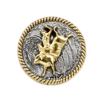 Gold Bull Rider on Silver - 20mm - Pack of 6 - Concho-09