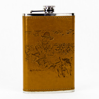Flask 10oz - Leather - Old School - Flask21