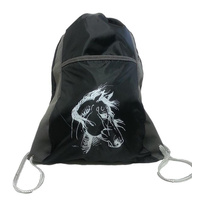 "Black Drawstring Backpack - ""Lila"" Print - GG896"