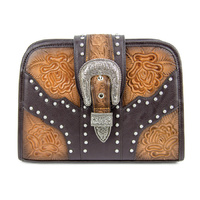 Brown Leather Multi-Purpose Handbag - HB1008BR