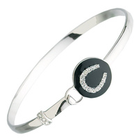 Bracelet - Bangle- Black Enamel - Rodium - JB7696