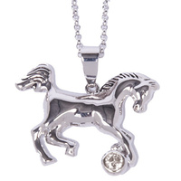 Necklace - Horse and Stone Pendant - Rodium - JN634CL