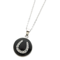 Necklace - Horseshoe Pendant - Rodium - JN7696