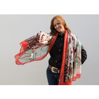 Ladies Scarf - Red Border - Scarf-01