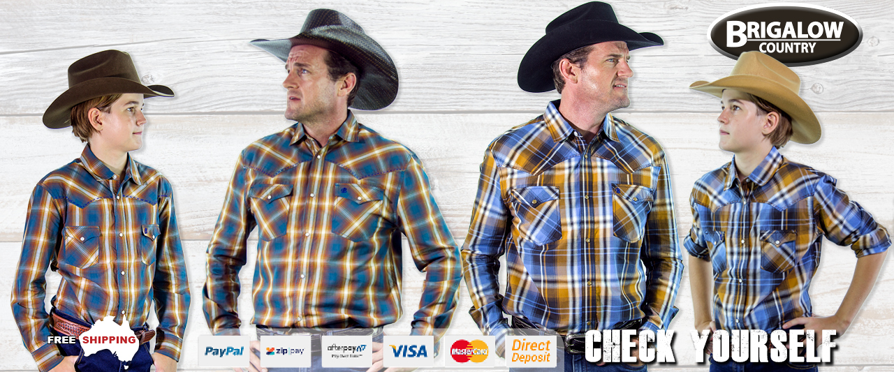 Long sleeve country and western check cowboy shirts