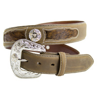 Belt - Western - Leather - Coffee Leather Hair On w/ Steerhead Concho - [302]