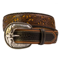 Belt - Western - Leather - Tooled Brown Leather - [305]