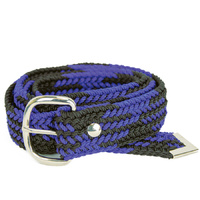 Braided Nylon OSFA Belt - Black/Royal - 31504